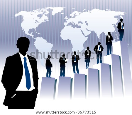Successful people are standing on a large graph, world map in the background. The base map is from Central Intelligence Agency Web site. - stock vector
