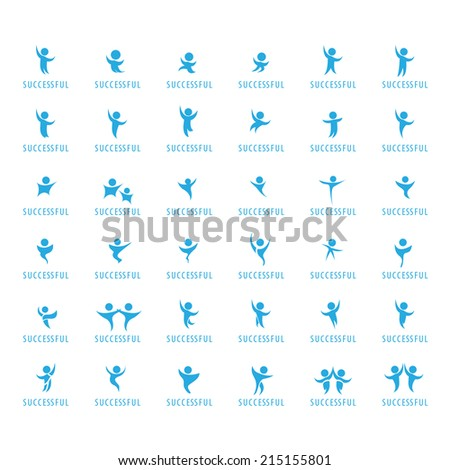 Successful People Set - Success, Celebration, Achievement, Activity - Isolated On White Background - Vector Illustration, Graphic Design Editable For Your Design. - stock vector
