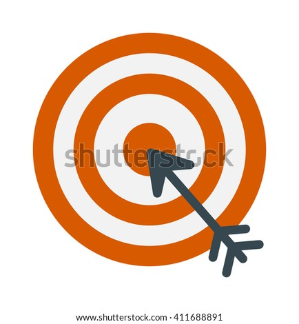 Successful shoot goal icon darts target aim on white background vector illustration. Success arrow goal icon and game sport goal icon. Dartboard goal icon accuracy, strategy perfect goal icon. - stock vector