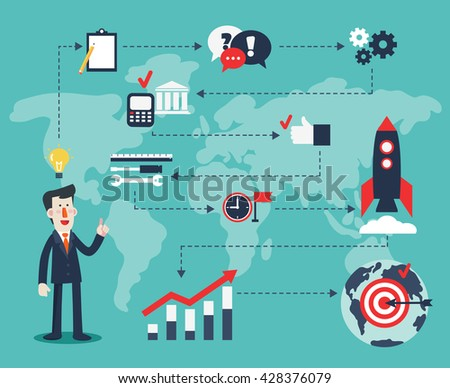 Successful smiling business man presenting and showing start up process concept. Success, idea, growing, international business and strategy vector illustration. New business project start-up design - stock vector