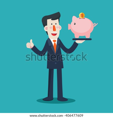 Successful smiling business man with a piggy bank. Saving and investing money concept. Future financial planning concept. Modern vector design flat style - stock vector