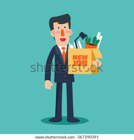 "Successful smiling young business man holding a box with her things with inscription "" New job"". Welcome to the new job vector business concept. Start and time for a new job illustration - stock vector"