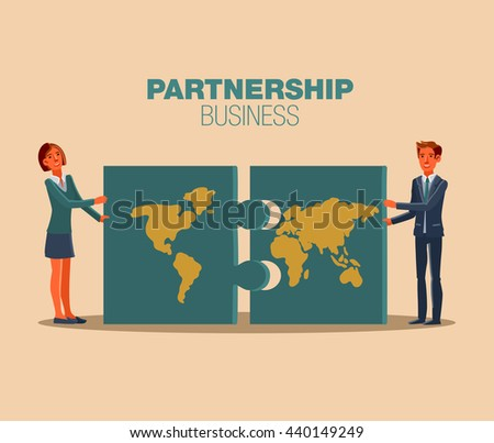 Successful, smiling, young, happy business man and business woman assembling puzzle. Communication, assistance, partnership, cooperation, collaboration and teamwork in business vector concept - stock vector