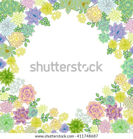 Succulent Garden Border Card Design Greeting Stock Vector