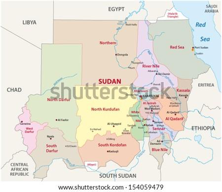 sudan administrative map - stock vector