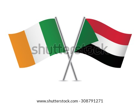 Sudan and Ireland flags. Vector illustration.