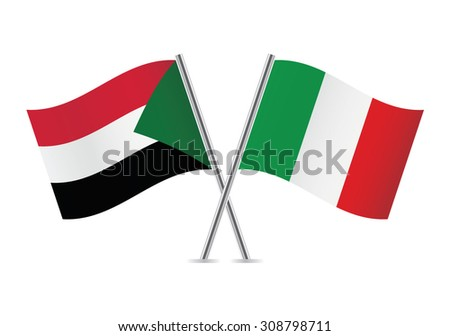 Sudan and Italy flags. Vector illustration.
