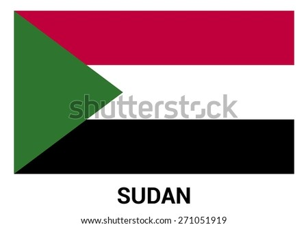 Sudan flag isolated vector in official colors and Proportion Correctly. country's name label in bottom - stock vector