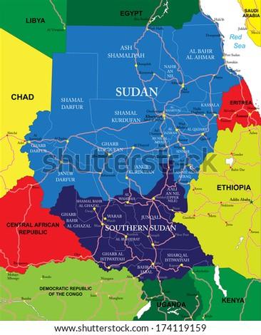Sudan map  - stock vector