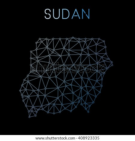 Sudan network map. Abstract polygonal map design. Network connections vector illustration. - stock vector