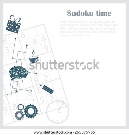 Sudoku background with relevant objects on it - stock vector