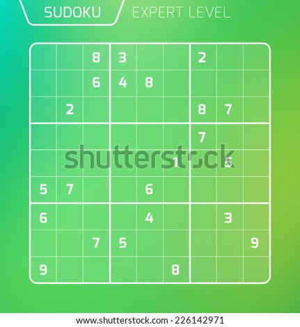 Sudoku, number place combinatorial puzzle - stock vector