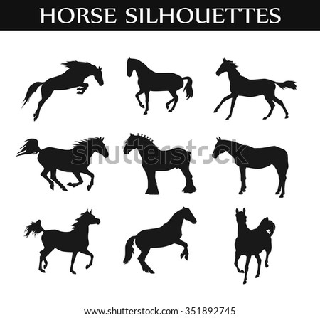 suffolk punch, arabic horse silhouette vector set from different angles. Equestrian illustration, web design page icon element. Western style, wild nature picture. different allure and position