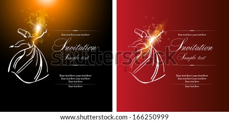 Sufi whirling dervish (Semazen), card design - stock vector