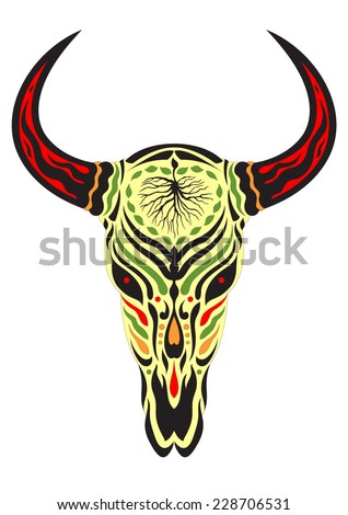 sugar skull day of the dead illustrations design, bull skull 1.3 - stock vector