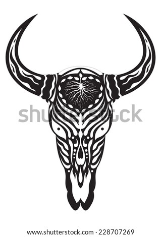sugar skull day of the dead illustrations design, bull skull 1.5 - stock vector