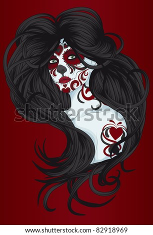 Sugar Skull Girl or Calavera Catrina with face paint for Day of the Dead or Dia de los Muertos - stock vector
