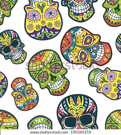 sugar skull pattern - stock vector