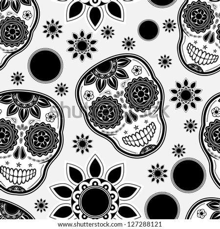 Sugar skull seamless pattern - stock vector