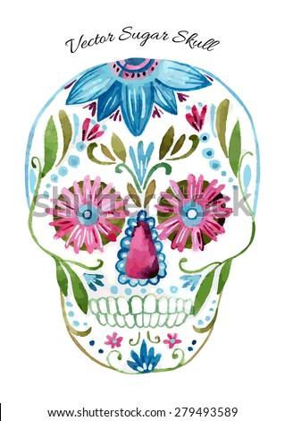 Sugar skull vector. Hand painted watercolor illustration - stock vector