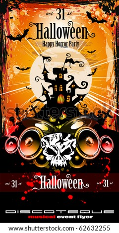Suggestive Hallowen Disco Party Flyer for Entertainment Night Event - stock vector