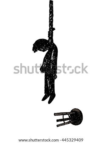 suicide man.hangman on rope noose - stock vector