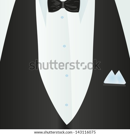 Suit, classic, blue shirt, black bow-tie, black vest in close-up. Business style. Mail costume close-up, background.Vector illustration.