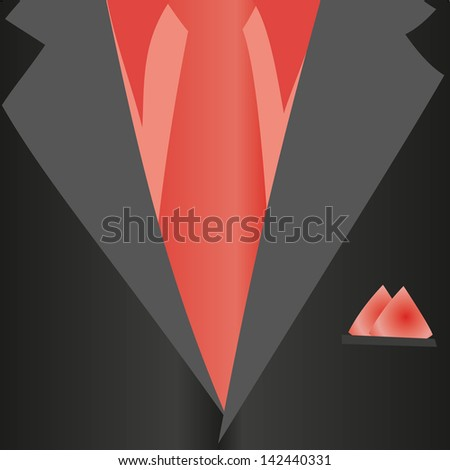 Suit, classic, red shirt, red tie, black jacket in close-up. Business style. Mail costume close-up, background.Vector illustration. - stock vector