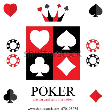 Suit of playing cards. Card suit icon. Poker logo. Vector illustration symbols isolated on white background.