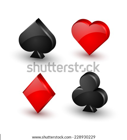 Suit playing card symbols on white background - stock vector