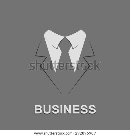 Suit with tie abstract isolated on a gray backgrounds, vector.