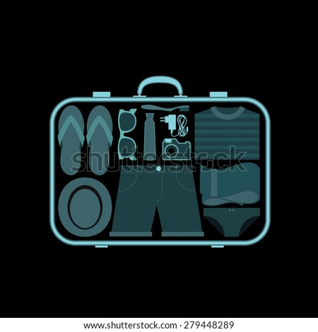 Suitcase at x-ray airport scanner - vector illustration   - stock vector