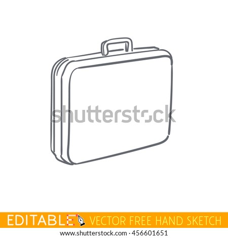 Suitcase. Editable vector icon in linear style. - stock vector
