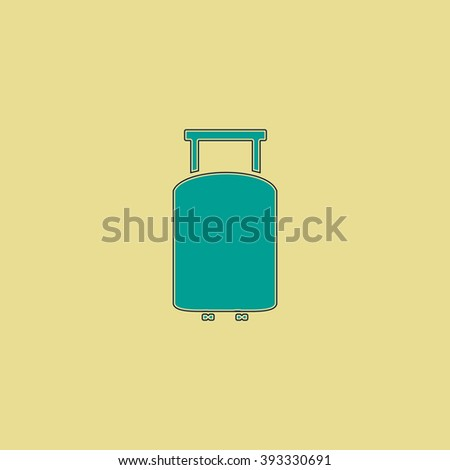 Suitcase Flat line icon on yellow background. Vector pictogram with stroke - stock vector