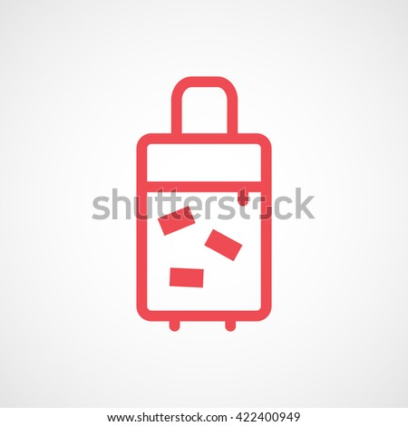 Suitcase For Travel Red Line Icon On White Background - stock vector