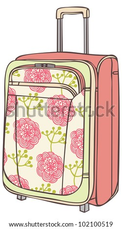 suitcase for traveling with a flower pattern - stock vector
