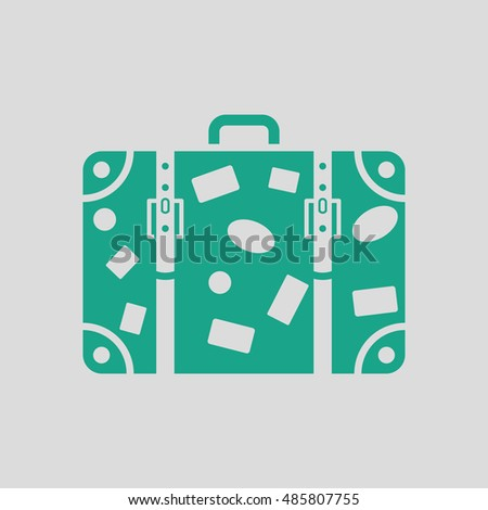 Suitcase icon. Gray background with green. Vector illustration.