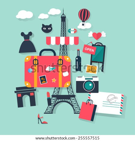 Suitcase in Paris tourism concept image.Vacation flat vector french icons - stock vector