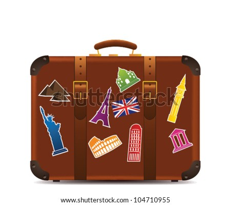 Suitcase  with funky stickers isolated - stock vector