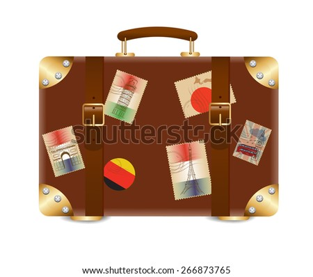 Suitcase with stickers - stock vector