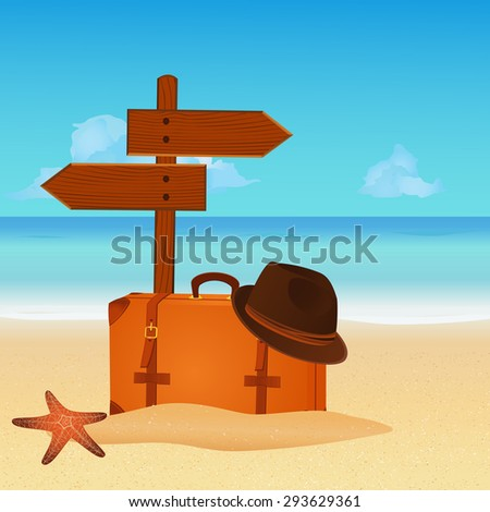 Suitcase with wooden sign on summer beach. vector illustration - stock vector
