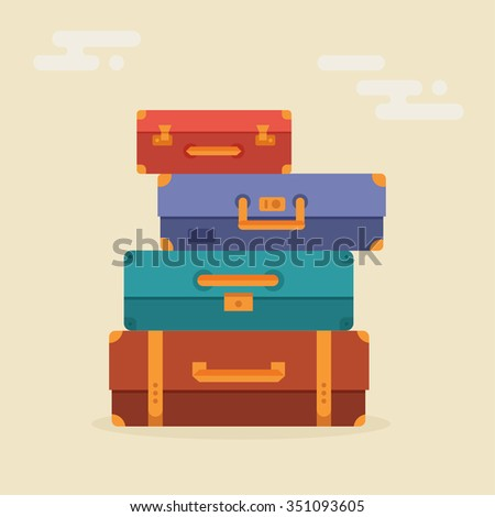 Suitcases stacked in a flat style. Suitcases vector illustration. Suitcases isolated on a colored background. Suitcases travel. Illustration for travel, holidays, trips. Suitcases vacation.  - stock vector
