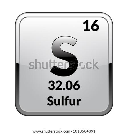 Sulfur Symbol Chemical Element Periodic Table On Stock Vector