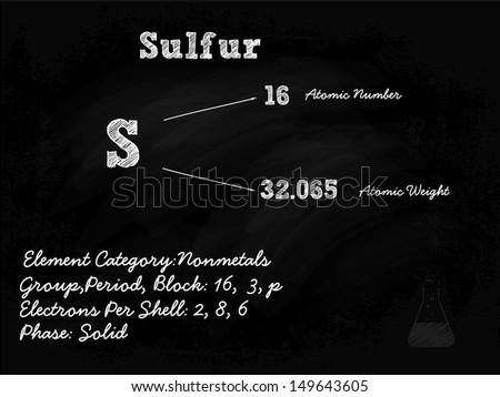 Sulfur Symbol Illustration On Blackboard With Chalk - stock vector