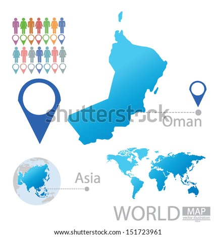 Sultanate Oman Asia World Map Vector Stock Vector - Oman in world map