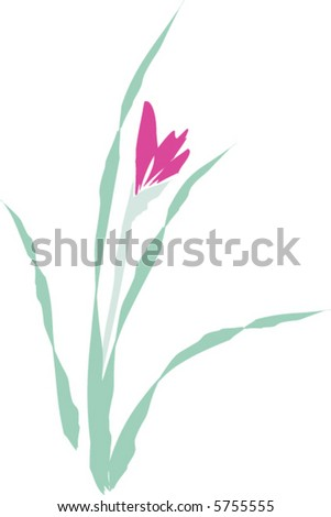 Sumi-E Flower Painting - stock vector