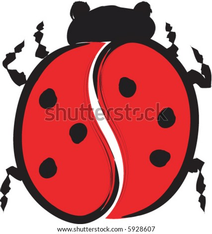 Sumi-e Lady Bug - stock vector
