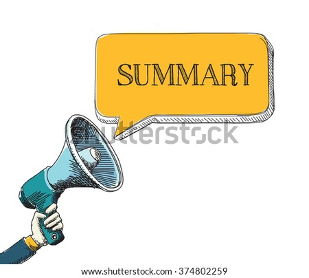 SUMMARY word in speech bubble with sketch drawing style - stock vector
