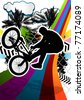 Summer abstract background design with bmx biker silhouette. Vector illustration. - stock vector