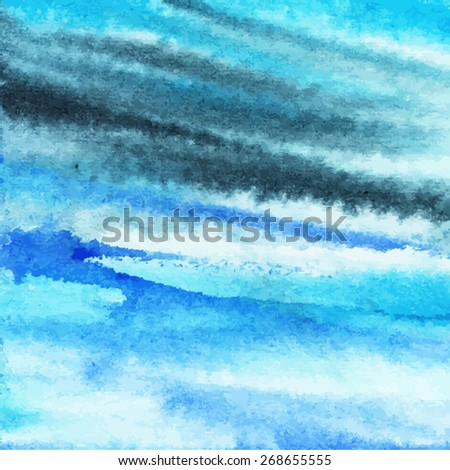 summer abstract background part1/ stain, lines, blur, gradient/ beach/ sea/ ocean/ sky/ watercolor painting/ vector illustration - stock vector